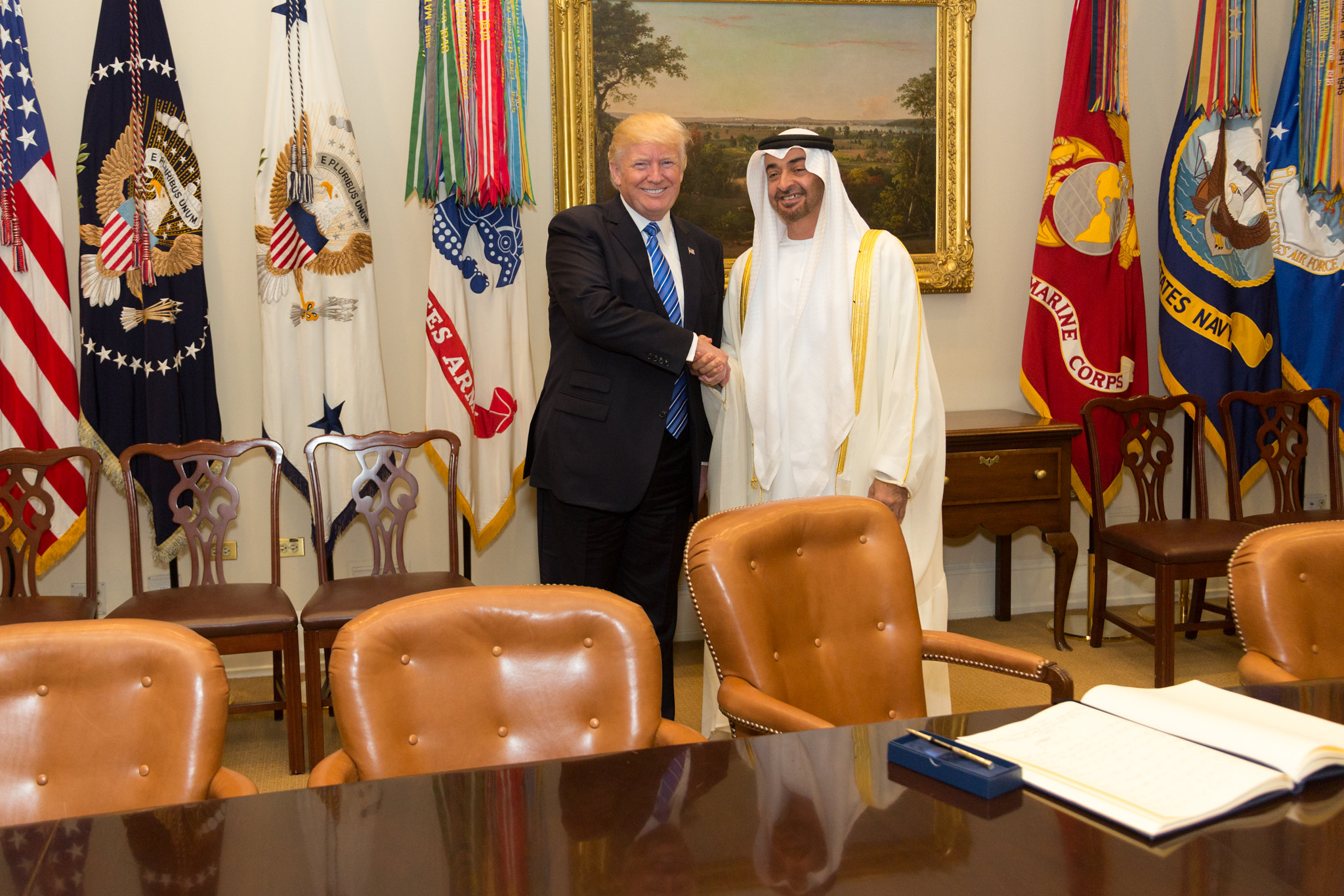 U.S. President Donald Trump meets with Sheikh Mohammed bin Zayed Al Nahyan
