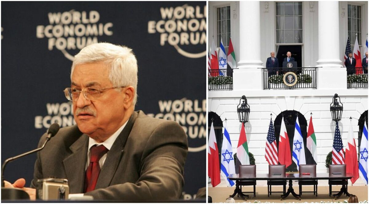 Palestinian President Mahmoud Abbas, Commons; Signing of Abraham Accords, White House, Credit: Avi Ohayon.