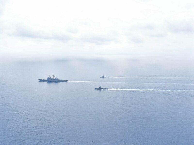 "Israeli naval forces and the Ticonderoga-class guided missile cruiser ""USS Monterey"" conduct maritime security operations in the Eastern Mediterranean Sea, March 15, 2021.Credit: U.S. Navy."