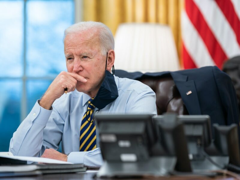 U.S. President Joe Biden participates in a conference phone call in the Oval Office of the White House on Feb. 16, 2021. Credit: Official White House Photo by Lawrence Jackson.