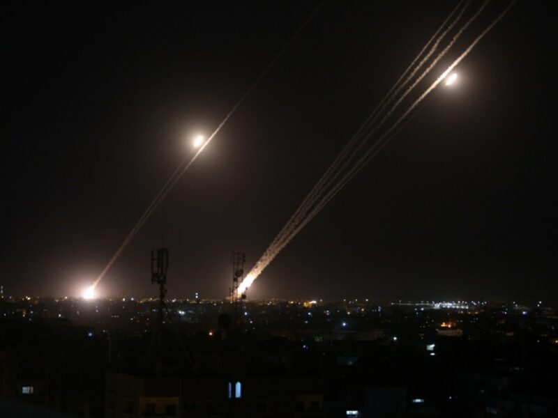 Rockets are launched towards Israel from Rafah, in the southern Gaza Strip, early on May 12, 2021. Photo by Abed Rahim Khatib/Flash90.