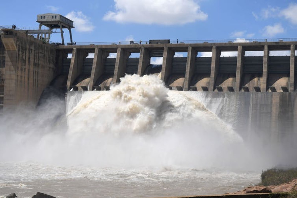 Water flows from the Vaal Dam after several sluice gates were opened in February 2021. Heavy rains in the Gauteng province resulted in a spike in dam levels. Deaan Vivier/ via GettyImages.