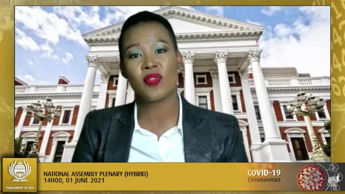 Minister Stella Ndabeni-Abrahams, speaking at the National Assembly Plenary, 1 June 2021. Screenshot.