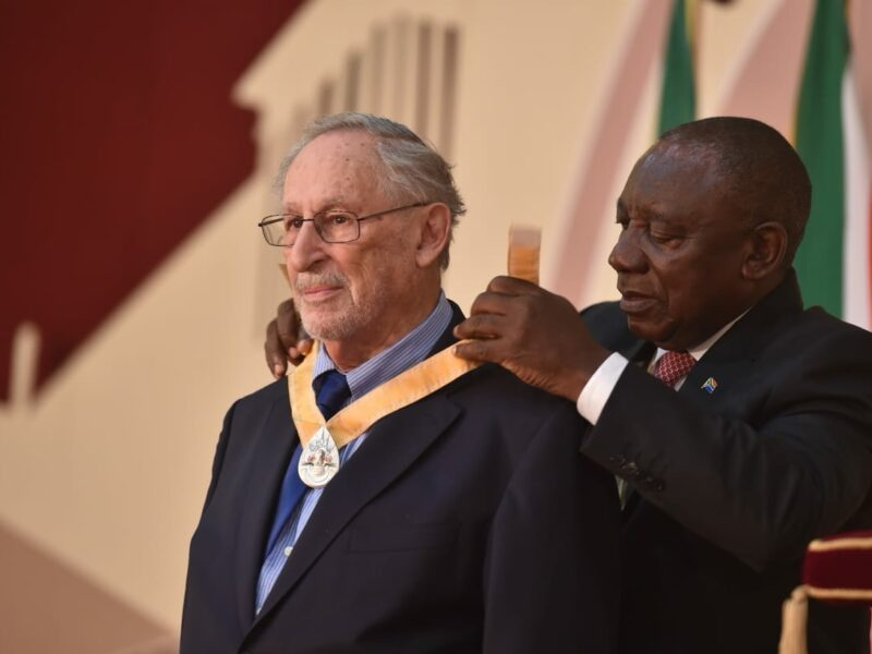 Mr Benjamin Pogrund, Recipient of the Order of Ikhamanga awarded for his excellent contribution to the field of journalism and scholarship on the liberation struggle. GovZa Twitter.