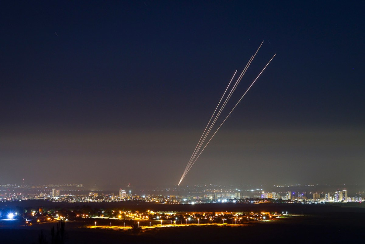 Rockets fired at Israel by Hamas in the Gaza Strip, May 18, 2021. Photo by Nati Shohat/Flash90.