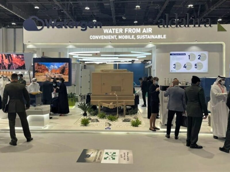 An agreement was signed in Abu Dhabi to launch a joint Israeli-Emirati water research program as part of a collaboration between the Israeli Watergen company and Baynunah, a sister company of Al Dahra Group, an Emirati agriculture group that specializes in food security, May 2021. Credit: Watergen.
