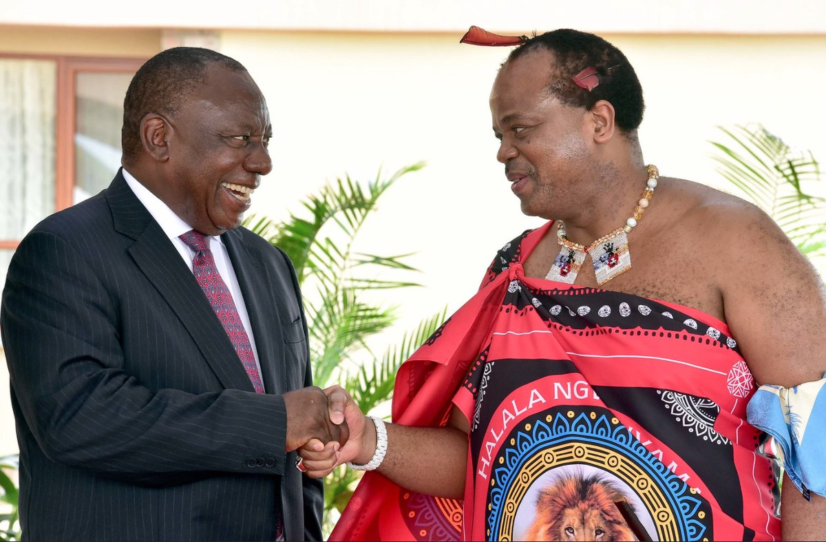 President Cyril Ramaphosa received by His Majesty King Mswati III during a working visit to the Kingdom of Eswatini, 3 March 2019. [Photo: GCIS]