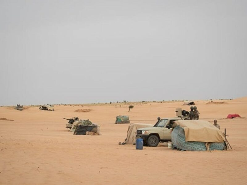 Mauritanian soldiers stand guard at a G5 Sahel task force command post, in November 2018 in the southeast of Mauritania near the border with Mali. Photo by Thomas Samson/AFP via Getty Images.