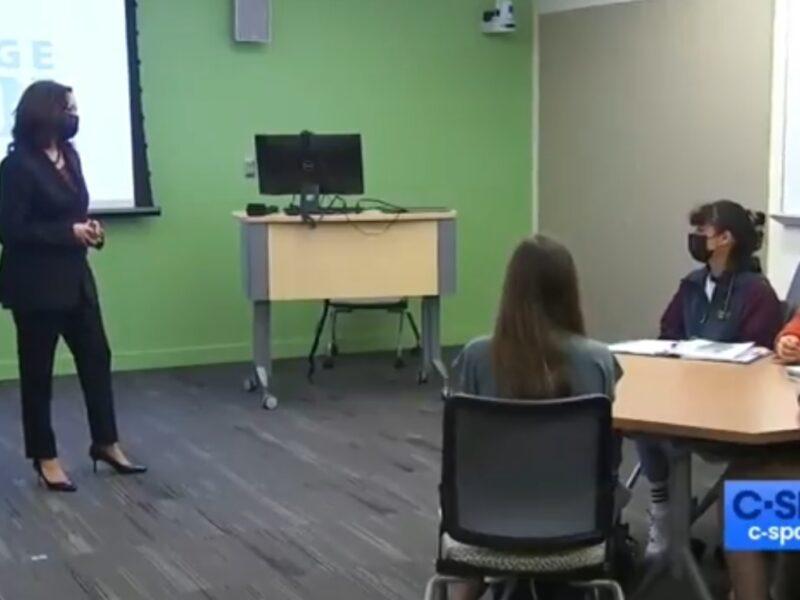 Vice President Kamala Harris at George Mason University. Source: Screenshot.